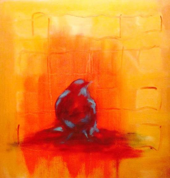 Bird - Red, Yellow, Blue - Oil on Panel