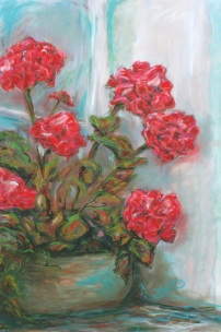 Nan's Geraniums - Mixed Media on Panel