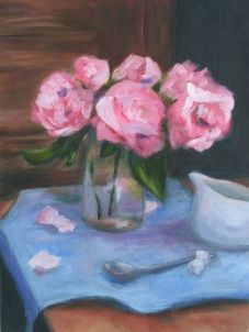 Roses & Cream - Oil on Panel